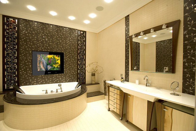 Should you have a tv in your bathroom stonewood for Can you put a tv in the bathroom